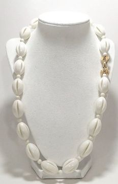 Signed CROWN TRIFARI - Rare Necklace - Open-work, white-lucite, oval beads. Satin/ Matte Gold-tone, textured-bow fold over clasp