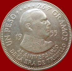 Dominican Republic. 1 Peso. Silver. 1955. 25 Anniversary of the Era of Trujillo