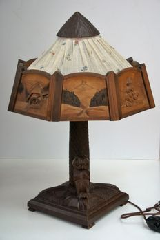 Black forest wood carved owl lamp - Germany - 1st half 20th century