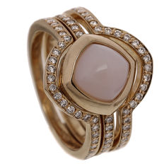 "Saddal – Rose gold women's ring ""Dolce"" with pink opal and diamond"
