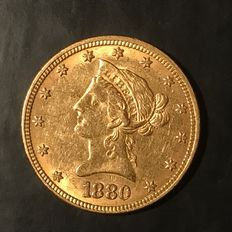 United States – 10 Dollars 'Liberty Head Eagle' 1880 – Gold