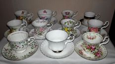 Lot with 11 English Cups and Saucers, 6 x Royal Albert, England, second half 20th century
