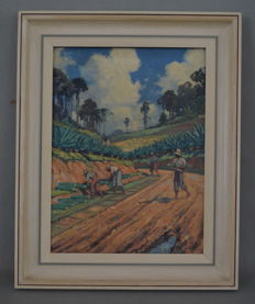"Leonardus Josephus Eland (1884-1952), oil paint on board ""Planting agave"" - Indonesia"