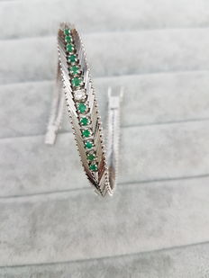 White gold bracelet with diamond and emeralds – '80s, made in Italy