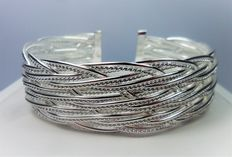 925 silver rigid bracelet with woven plates