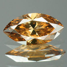 0.40 cts.  marquise brilliant cut diamond vivid coffee brown I1