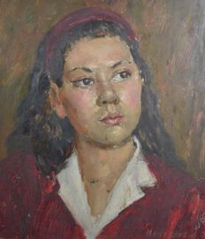Studio of Bernard Hailstone (1910-1987) - A portrait of a girl with red hairband