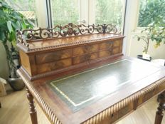 A Louis Philippe mahogany ladies desk with leather top and back wall - France - circa 1850