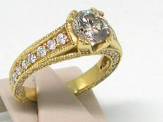18kt gold - 2,50ct Diamond Engagement Ring - size BE 55 // NL 17,50mm