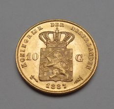 The Netherlands – 10 guilder 1887 Willem III – gold