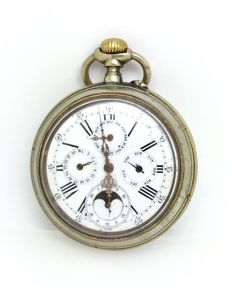 Pocket watch with triple calendar and moon phase