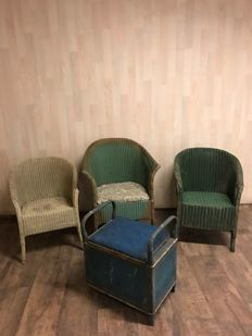 Three Lloyd Loom style chairs and a Lloyd Loom style storage stool, second half 20th century