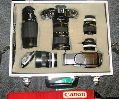 The famous CANON A-1 from 1982 with four lenses (various years)