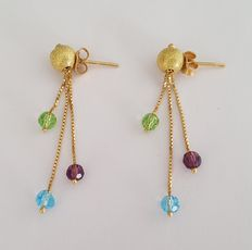 Long 18 kt gold earrings with Swarovski crystal NO RESERVE.