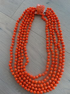 Heavy 5-row coral necklace salmon/orange with cut coral clasp