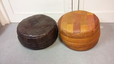 Designer unknown – Vintage leather patchwork pouffes