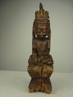 Wooden statue of Gautama Buddha - Birma - 19th century