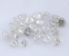 25 Round Brilliant Diamonds – 0.24 ct. - No Reserve