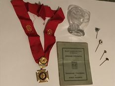 Masonic medals, glass and book