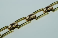 Bicolour 14 kt gold open-worked link bracelet, length 19 cm