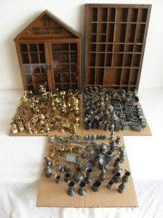 205 copper and pewter Typecase miniatures plus collect case and typecase