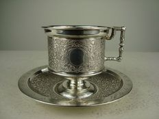 Silver kop and saucer, Germany, ca. 1900