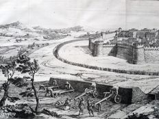 Two prints by an unknown artist - Castle Siege scenes - ca 1720