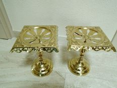 A set of English brass rests (trivets) arts & crafts period, with Rd. No.