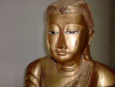 Life-size standing Mandalay Buddha - with gold leaf (approx. 167 cm) - Burma - mid 20th century