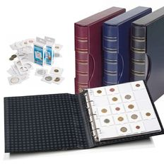 Accessories – Leuchtturm 3 Grande ring binders, including slipcase, coin sheets and coin holders for 300 coins.