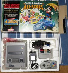 Super Nintendo with Mario All Stars boxed.