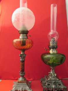 Set of 2 big old oil lamps, France, late 19th century