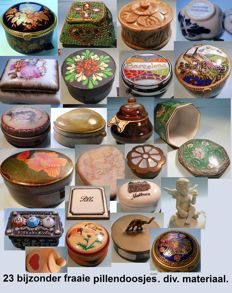 Lot of 23 very nice pill boxes - soapstone, silver-plated?, shell, wood, porcelain, brass, etc.
