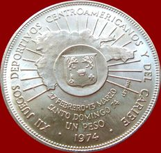 Dominican Republic. 1 Peso. Silver. 1974. XII Sport Games Centre-American and Caribbean Scarce coin.