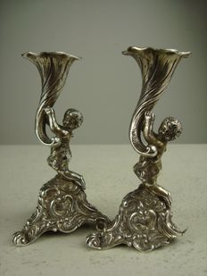 Two cherub candlesticks, possibly Germany, 19th century