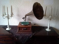 Old Gramophone with Copper Horn, in fully wooden casing.