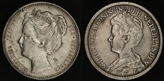 The Netherlands - 25 cents 1904 and 1912 Wilhelmina - silver