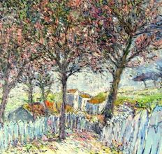 Jan Knoester (20th century)-landscape with flowering trees