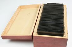 Wooden box with glass plate negatives
