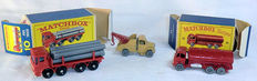 (Moko) Lesney Matchbox - Various scales - ERF Road Tanker `Esso` No.11b, Bedford Wreck Truck No.13a and Leyland Pipe Truck No.10d