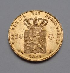 Netherlands - 10 Guilders 1879/1877 overstrike, William III - Gold