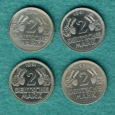 Federal Republic of Germany - 4 x 2 DM 1951, F, G, J grapes and ears of crown, complete set