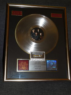 "Queen Platinum Record Award ""Greatest Hits"" 1992 Usa Edition Sales Disc Presentation"