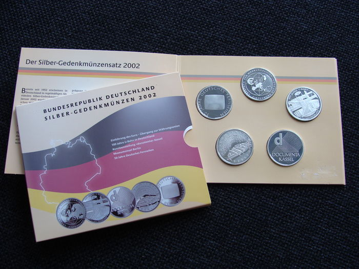 Germany – Five silver 10 Euro coins 2002 in blister