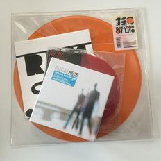 """R.E.M. small but beautiful collection with CD Box, coloured vinyl 7inches and orange vinyl 12"""""""
