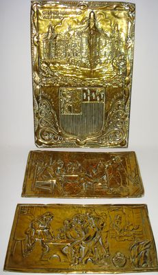 3 Brass Plaques-Netherlands-19th century