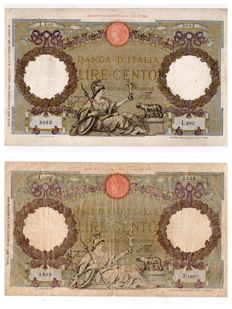 Italy - lot of 2 banknotes of 100 Lire - 02/11/1937 ALFA BI.394 and 23/08/1943 ALFA BI.418 (R2)