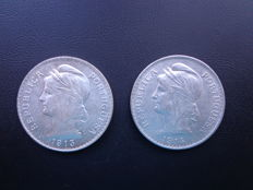 Portugal – 2 x 50 Centavo coins – 1913 and 1914 – Lisbon