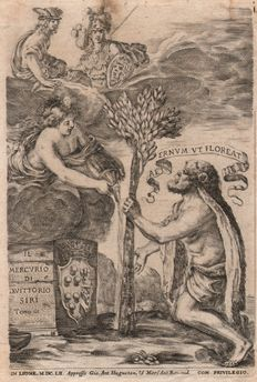 Stefano della Bella (1610-1664) -   Hercules with Truth, Mercury and Minera - Signed and dated. 1652