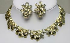 Signed CORO - Demi Parure - Necklace and earrings 1950/60s